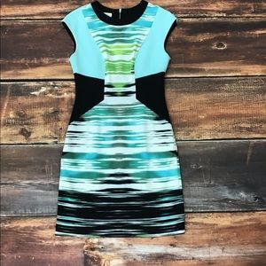 Maggy London multi blue and green dress